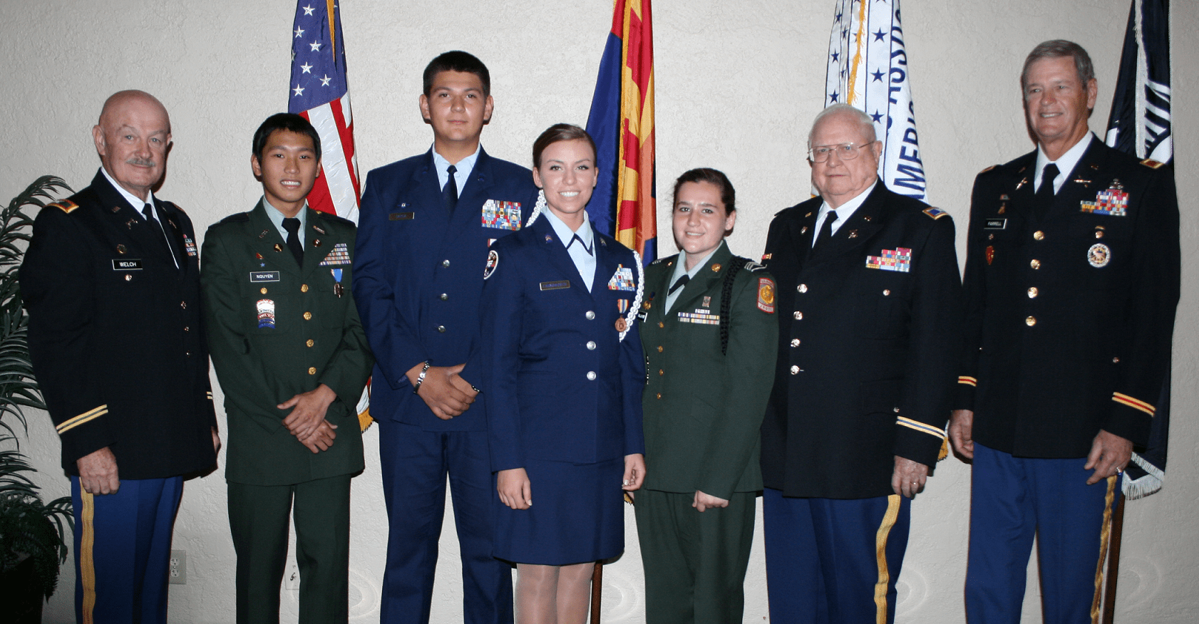 2013 Scholarship Awardees, left to right: Chapter President Colonel Rob Welch, Central HS Cadet Vu Nguyen, Sandra Day O'Connor HS Cadets Luis Garcia & Alexis Farnsworth, North HS Cadet Shelby Gallagher, Scholarship Treasurer Colonel Bill Roscher, and Scholarship Committee member Colonel Rance Farrell.