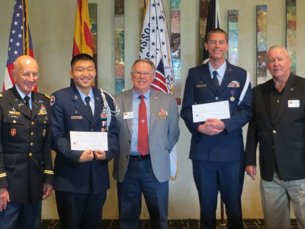 Scholarship Fund Chairman's Club donor Colonel Gene Rafanelli, Cadet David Sung, Chapter President Lt. Colonel Jim Cullison, Cadet Jesse Patterson, Scholarship Fund Raiser (Golf Tournament) Colonel Pat Dale